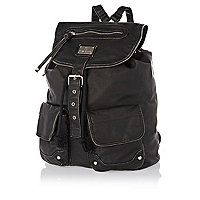 Black zip washed rucksack
