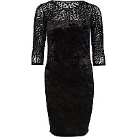 Black animal print velvet bodycon dress
