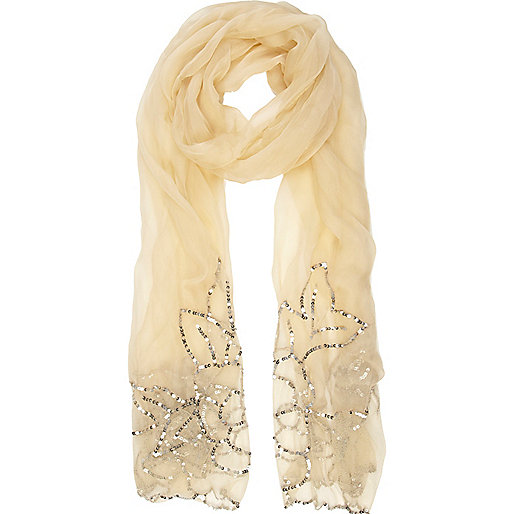 Cream sheer sequin lightweight scarf
