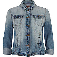 Blue rolled sleeve distressed denim jacket