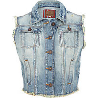 Light wash frayed denim cropped gilet