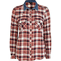 Red check denim collar western shirt