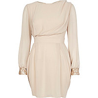 Cream split sleeve ruched dress