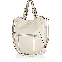 Grey structured curve tote bag