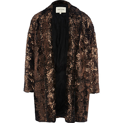 Bronze foiled faux fur boyfriend jacket