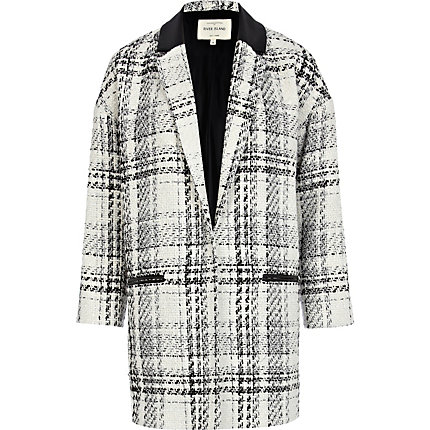 White check boyfriend coat