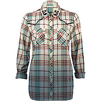 Green check dip dye western shirt