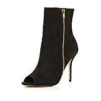 Black snake panel peep toe ankle boots