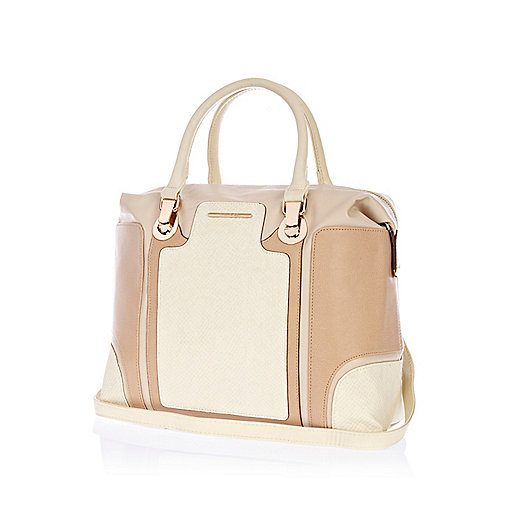 Beige color block bowler bag