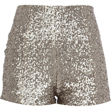 Silver sequin short