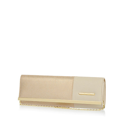 Cream colour block clutch bag