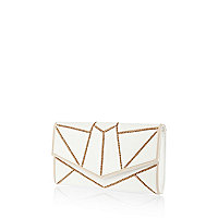 White geometric chain clutch bag