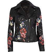 Black leather floral print biker jacket