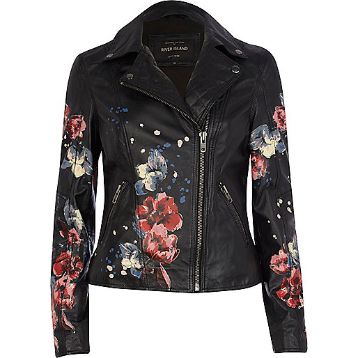 Black leather floral print biker jacket