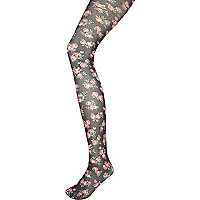Black floral print tights