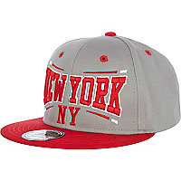 Grey and red italic NY print trucker hat