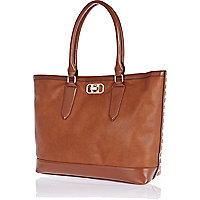 Brown stud side oversized tote bag