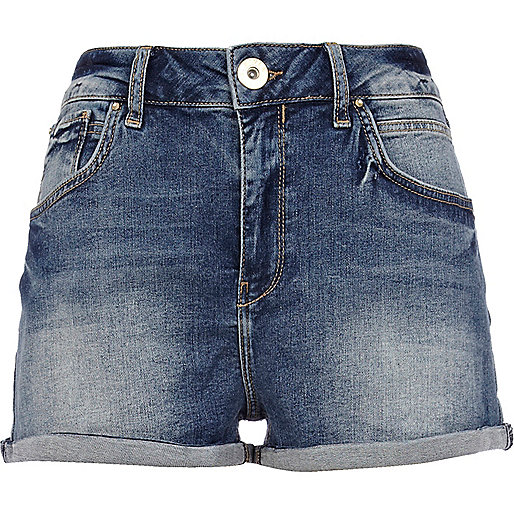 Mid wash high waisted denim shorts