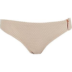 Grey textured zip bikini bottoms