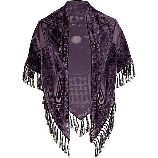 Dark purple devore tassel shawl