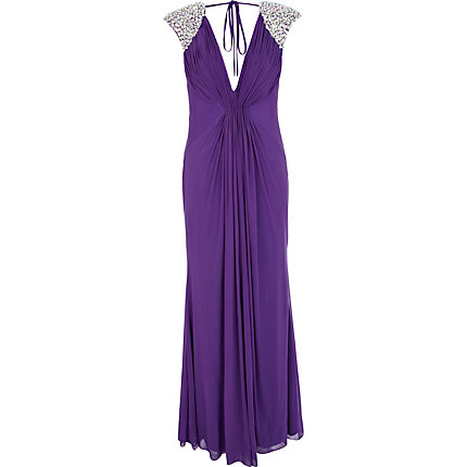 Purple Forever Unique diamante maxi dress