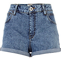 Acid wash high waisted denim shorts