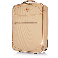 Cream quilted wheelie suitcase