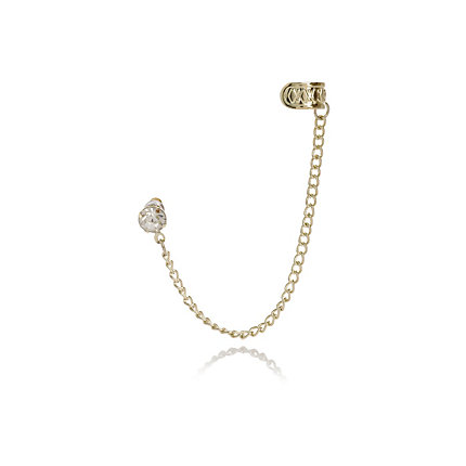 Gold tone diamante stud ear cuff