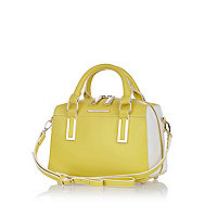 Yellow smooth mini box bowler bag