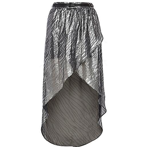 Silver zebra print dip hem wrap skirt