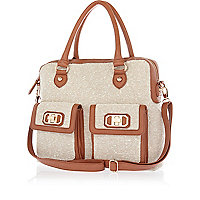 Beige tweed contrast trim tote bag