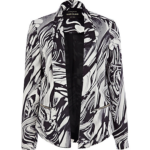 Black marble print unfastened jacket