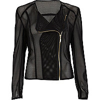 Black sheer mesh biker jacket