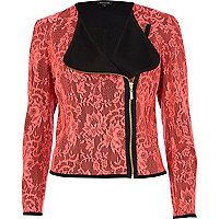 Pink lace collarless biker jacket