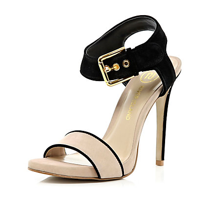 Pink contrast strap stiletto sandals