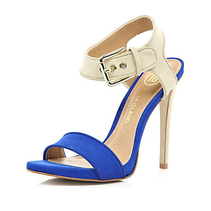 Bright blue contrast strap stiletto sandals