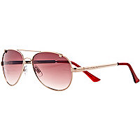 Red gold tone aviator sunglasses