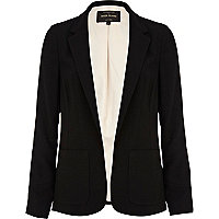 Black panelled smart unfastened blazer