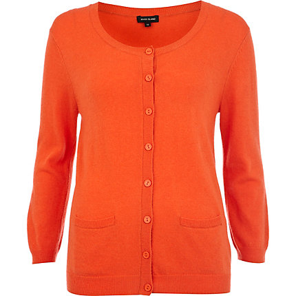 Orange button up 3/4 sleeve cardigan