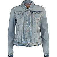Light wash pleated front denim jacket