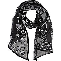 Black devore skull and cross print scarf