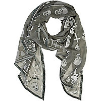 Khaki skull and cross devore print scarf