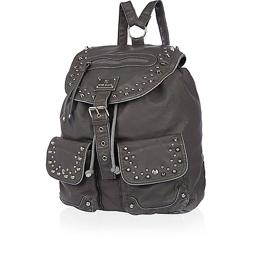 Grey washed stud backpack