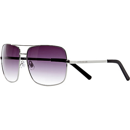 Silver tone purple tint aviator sunglasses