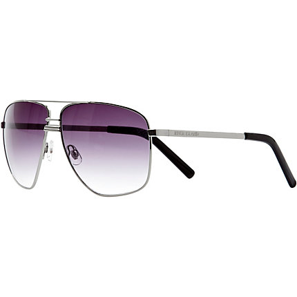 Silver tone and purple aviator sunglasses