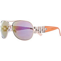 Gold tone rainbow lens aviator sunglasses
