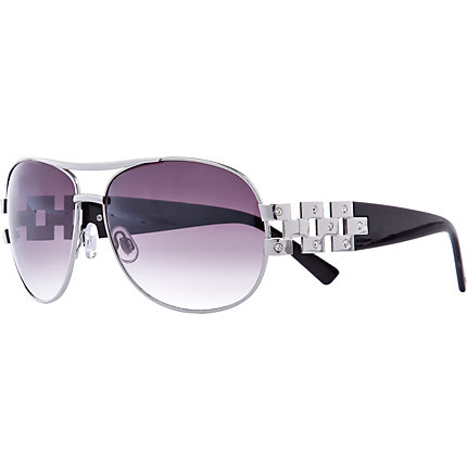 Silver tone purple lens aviator sunglasses