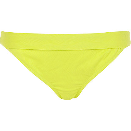Yellow fluro textured bikini bottoms