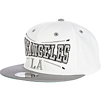 White and grey LA print trucker hat