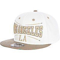 White and beige LA trucker hat